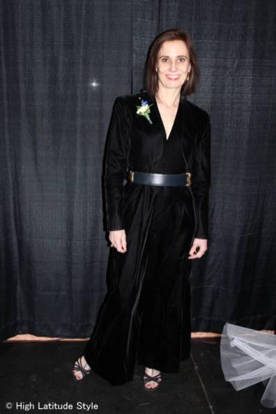 Alaskan fashion blogger in a velvet gown with bolero at an Inaugural Ball