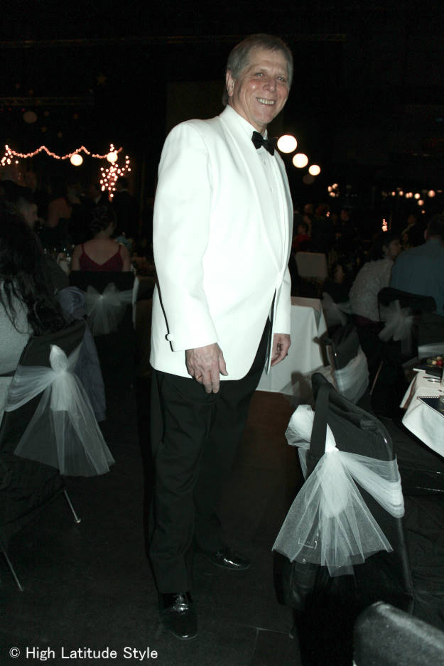 men's evening attire with white dinner jacket