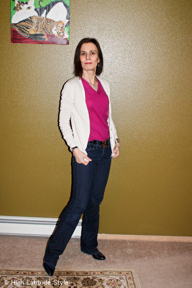 midlife woman in jeans, cardigan and sweater