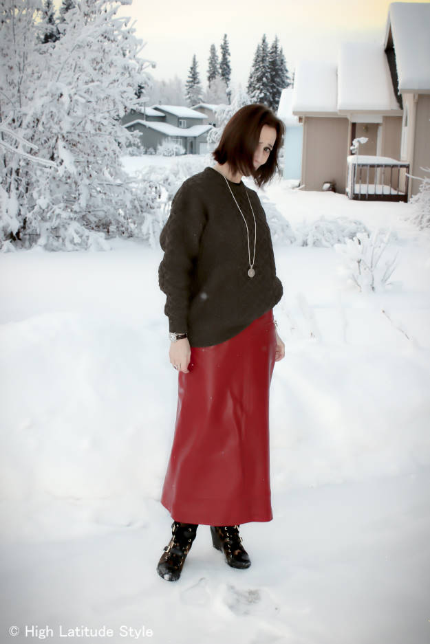 #over+40+fashion long leather skirt with cable knit sweater and wedge sneakers | High Latitude Style | http://www.highlatitudestyle.com