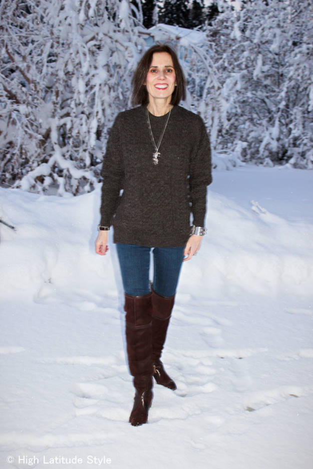 #over40fashion older woman wearing over-the-knee boots with skinnies