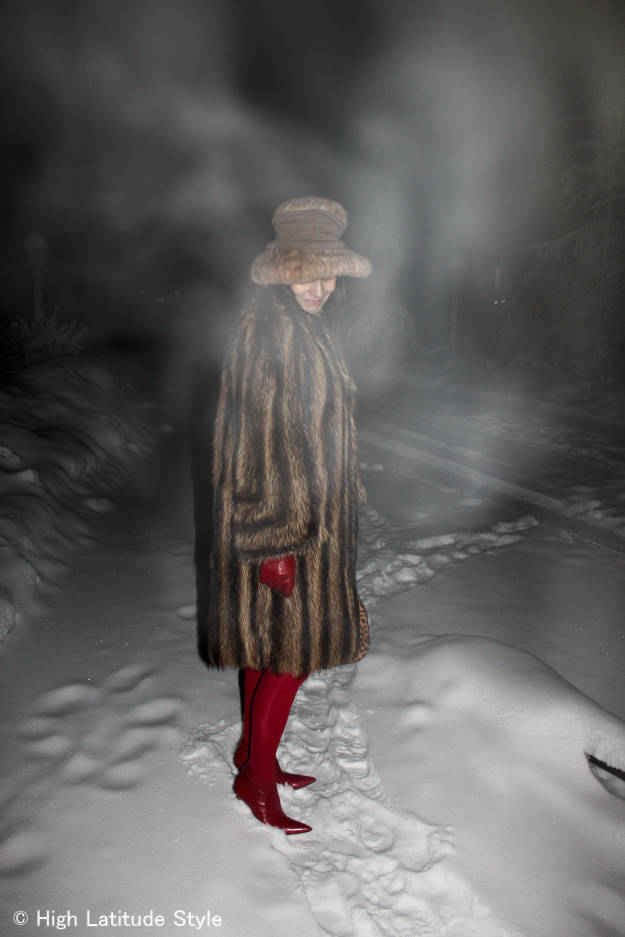 #styleover40 woman in winter outerwear in ice fog