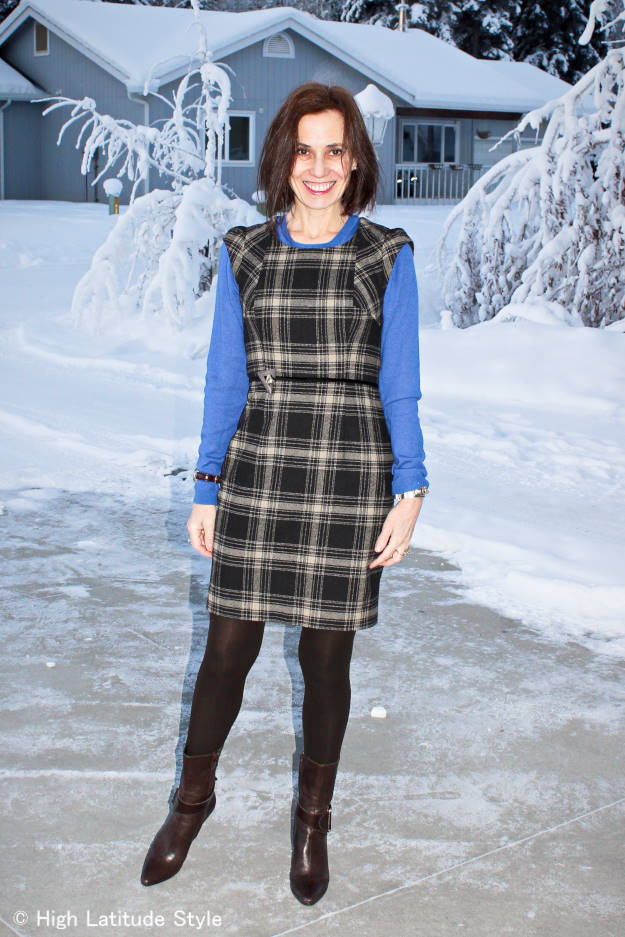 over 50 years old fashion blogger in plaid sheath dress