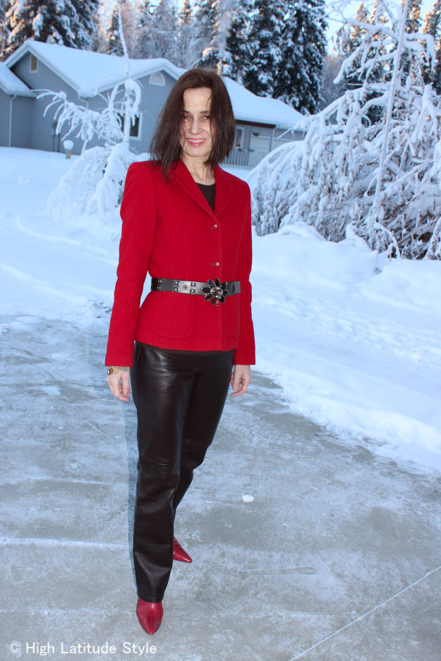 midlife style blogger in hot red blazer with leather pants