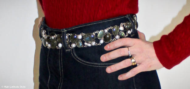 statement belt with pearls