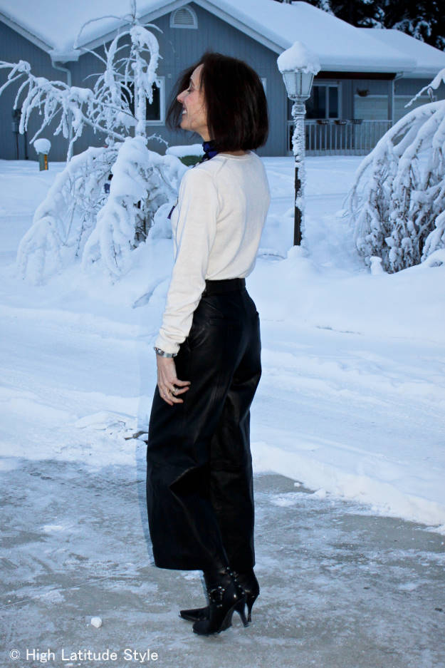 #midlifestyle mature woman wearing leather culottes