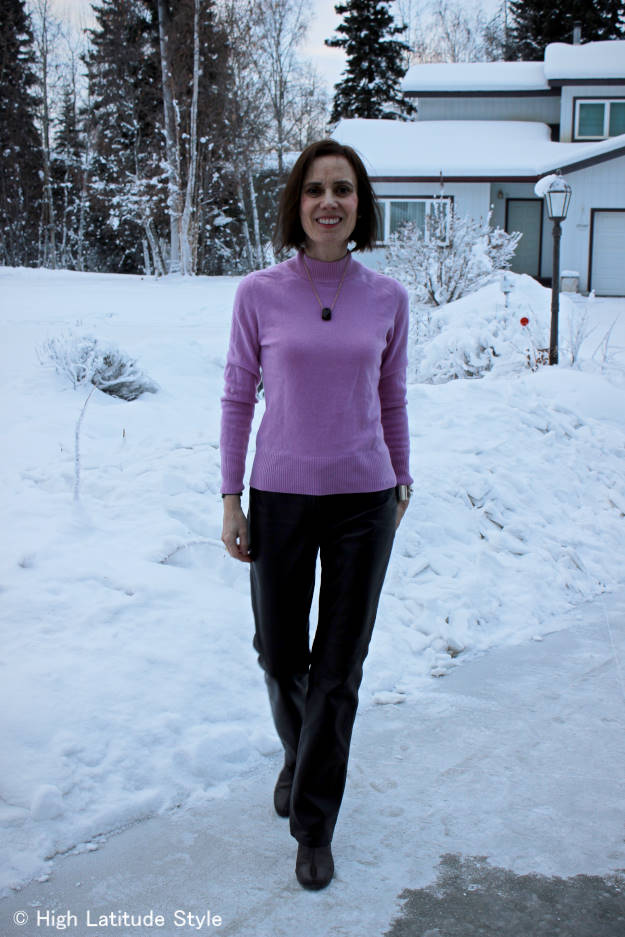 fashionover40 woman in winter office look