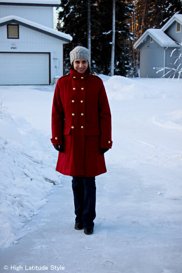 #styleover50 mature woman in winter outwear
