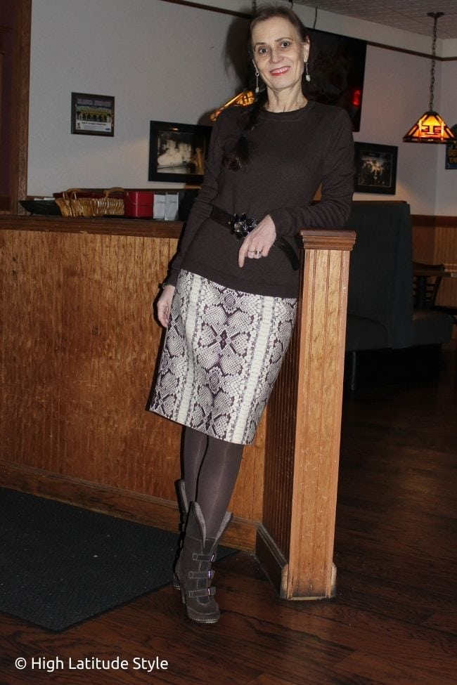 stylist in sexy pencil skirt and modest sweater for V-day