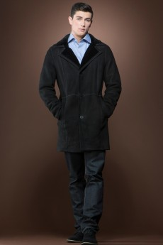 ML Furs men's Spanish black trench mid-length shearling coat
