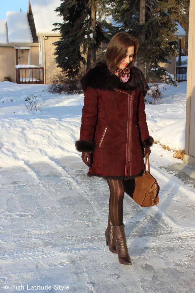 #fashionover50 Fairbanks fashionista in outerwear in the melting season