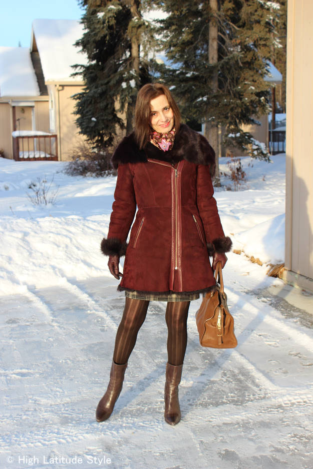 #chicover40 Blogger Nicole of High Latitude Style in a Cole Haan shearling motorcycle coat