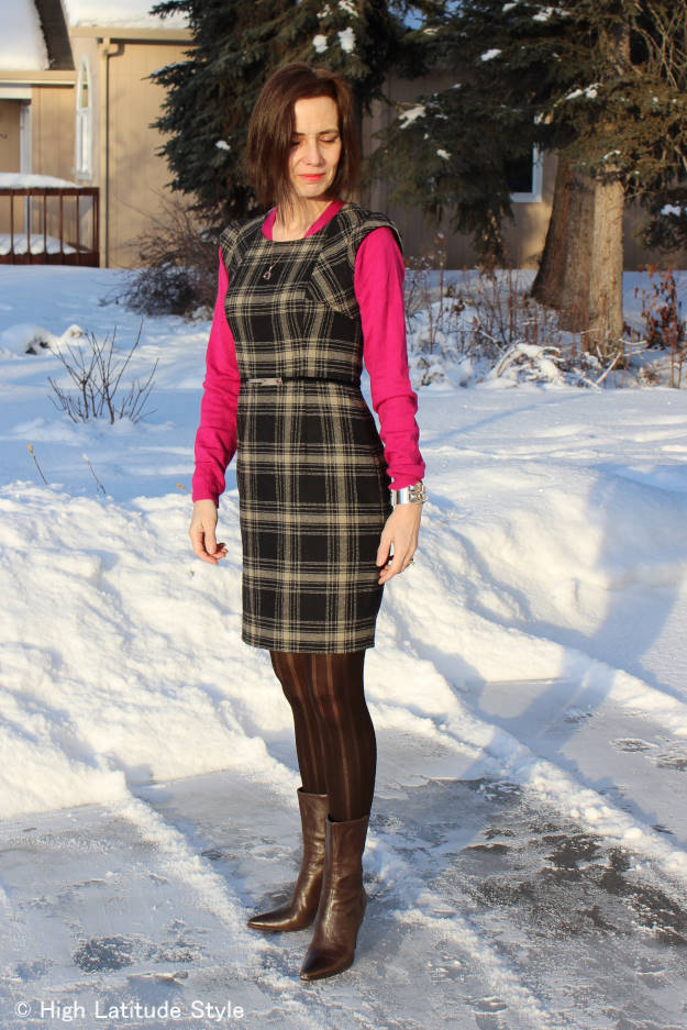 #styleover40 blogger of High Latitude Style in office outfit with sheath dress and sweater
