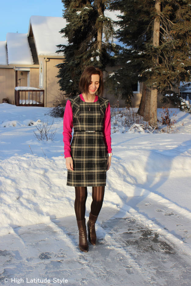 #midlifestyle Fairbanksan mature woman donning a plaid work outfit