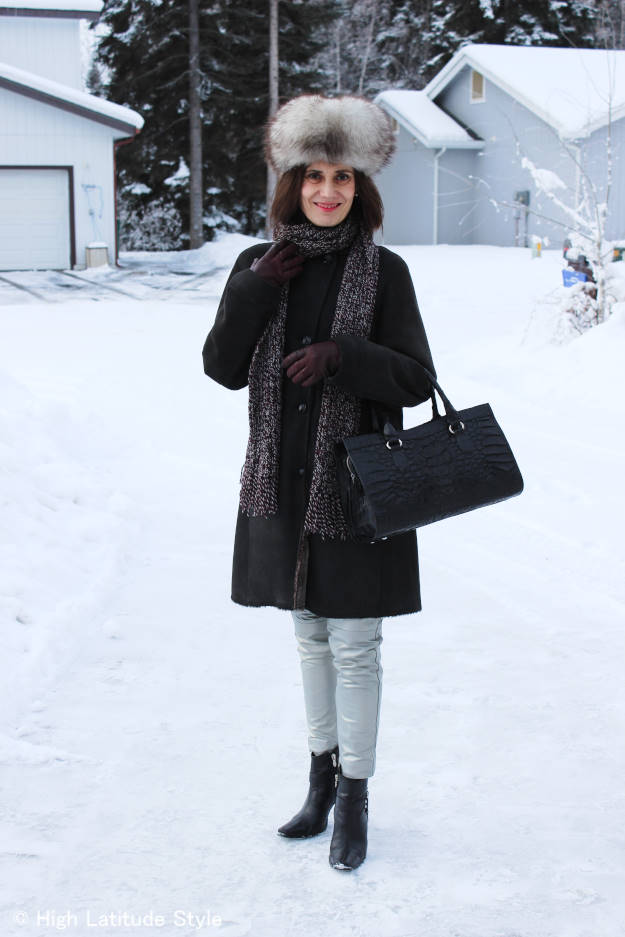 #fashionover40 midlife woman in outerwear with DIY scarf