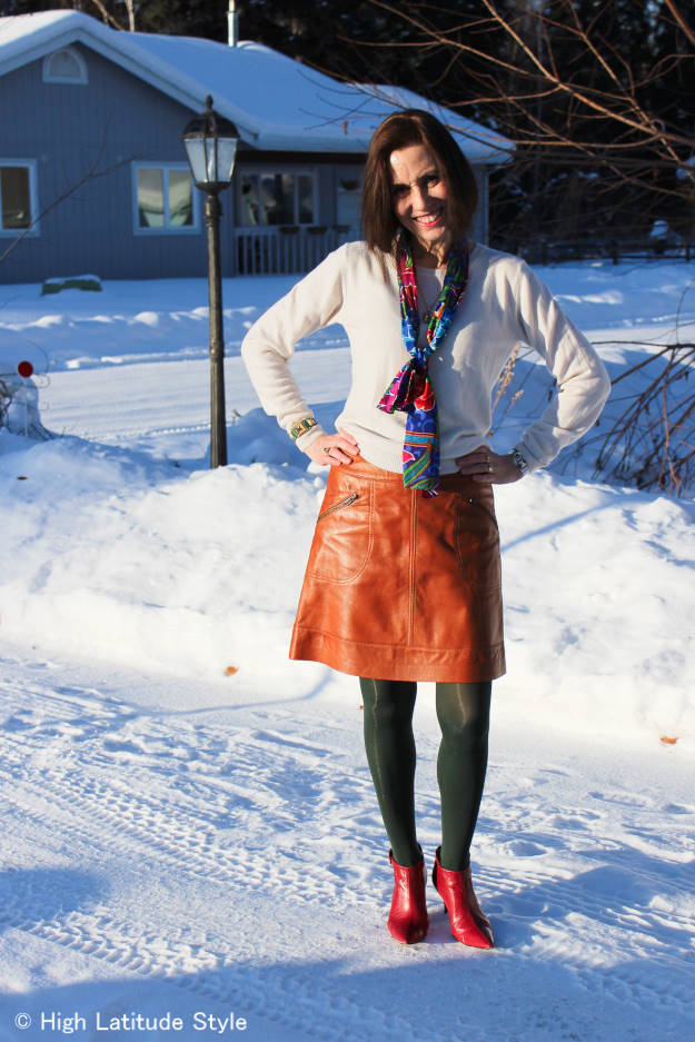 #fashionover50 casual work outfit with oblong scarf