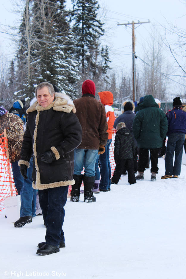 #fashionover60 Alaskan man wearing an Aleutian parka at the Iditarod start