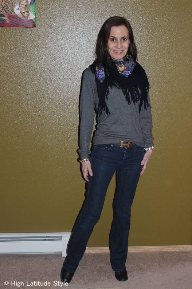Alaskan fashion blogger in casual outfit blue jeans