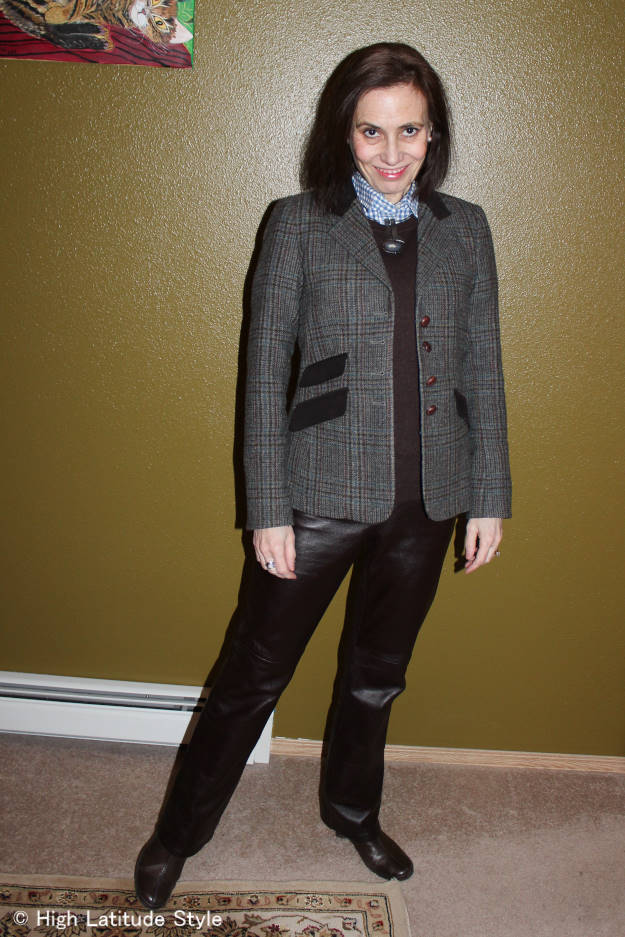 #over50fashion St. Patricks Day outfit inspriration with Irish blazer and leather pants