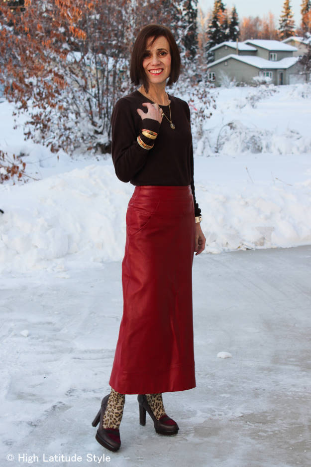 #over40fashion older woman in maxi skirt with sweater