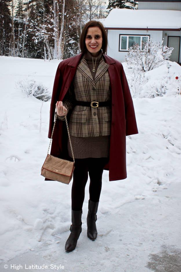 #fashionover50 Alaska spring look with knit dress and plaid blazer