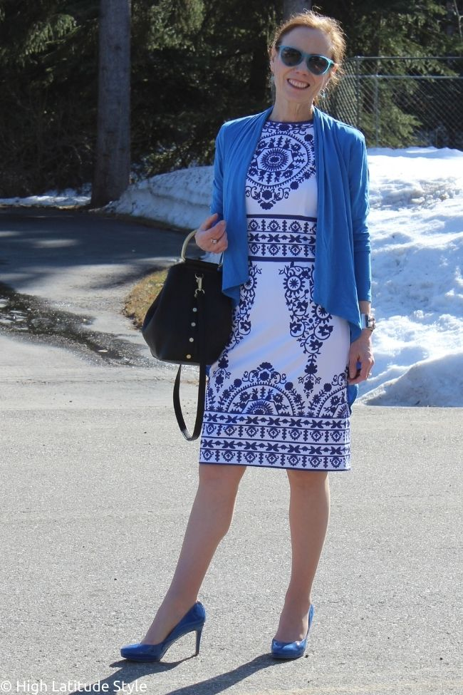 Stylist in Kate Middleton inspired dress withcardigan