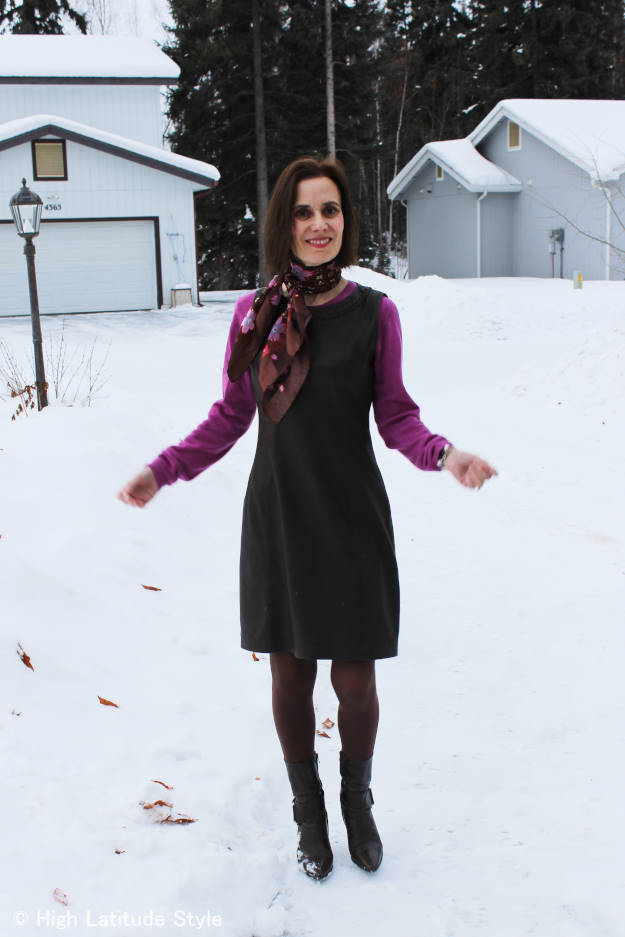 fashion book author over 50 in sheath with sweater