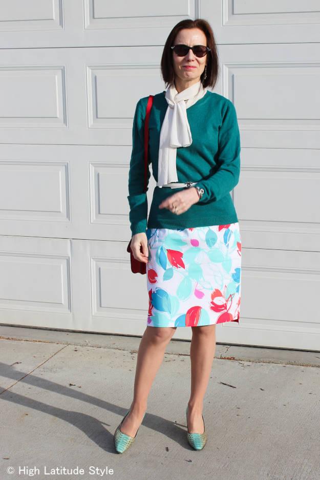 fashionista over 50 fighting winter wardrobe boredom with summer sheath dress worn as skirt