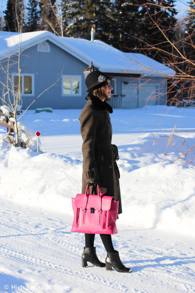 #maturestyle midlife woman looking professional in a loden coat with hat