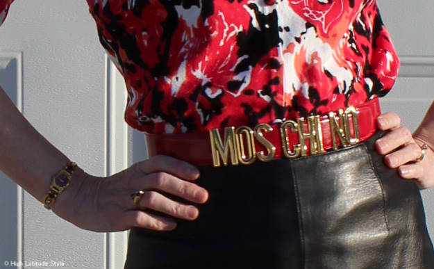 #Moschino belt | High Latitude Style | http://www.highlatitudestyle.com