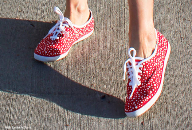 #sneakers Keds polka dot sneakers in red and white