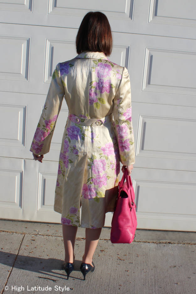 style over 50 floral print silk coat