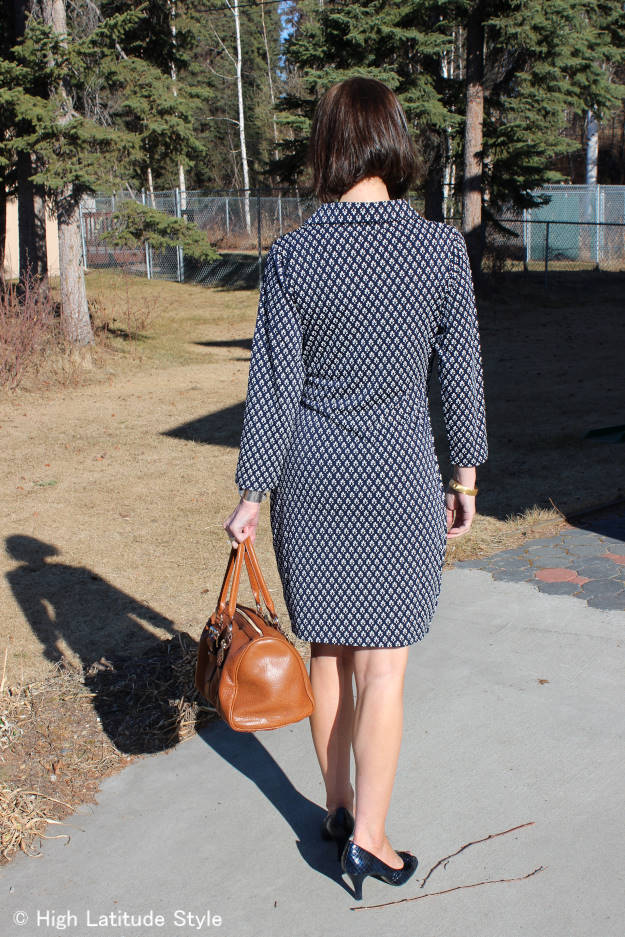 #fashionover40 mature woman wearing a Samantha Brown dress