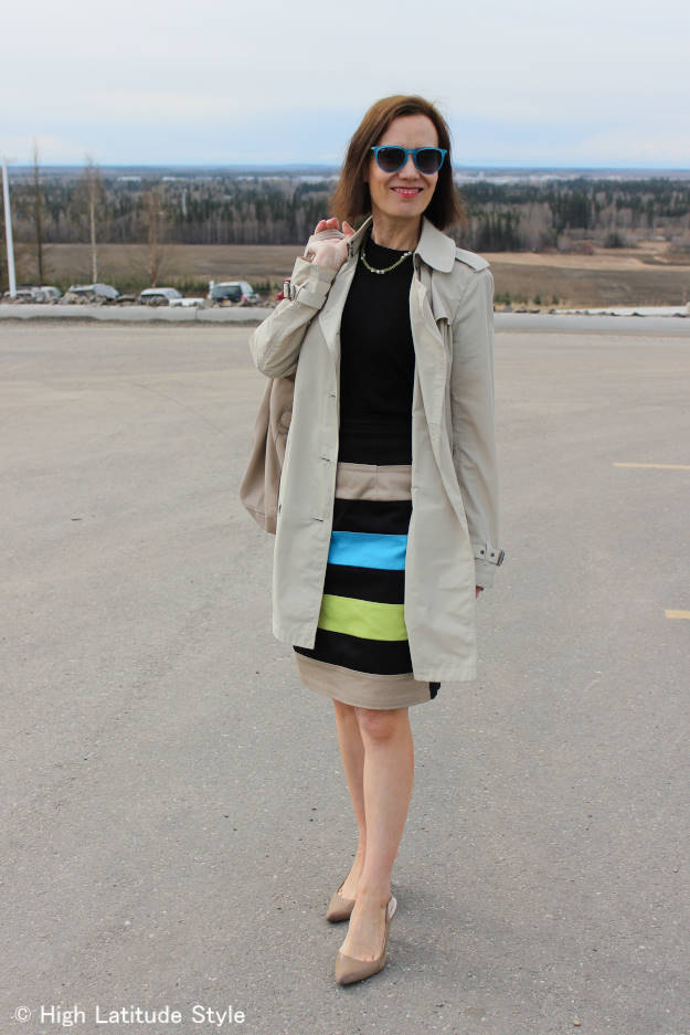#styleover40 woman in work outfit with trench coat
