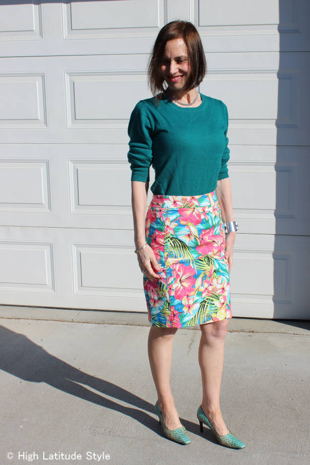 #styleover50 woman in floral print skirt office outfit for spring