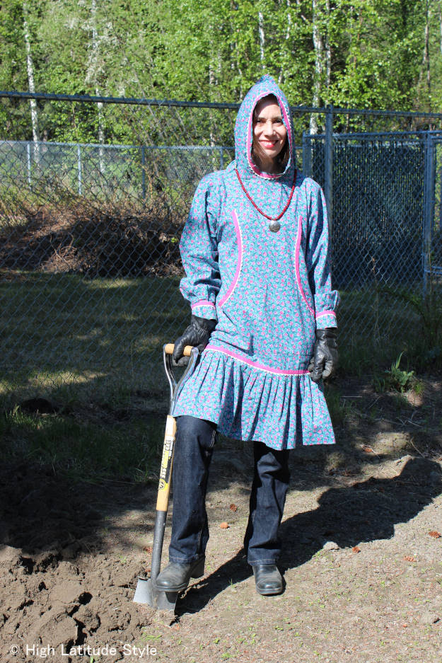 Alaskan style blogger wearing a kuspak