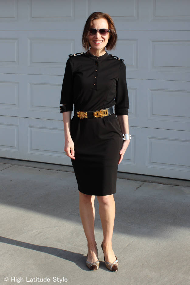 #fashionover40 woman in military inspired black dress