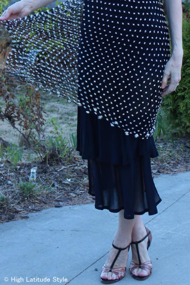 details of mesh-net dress
