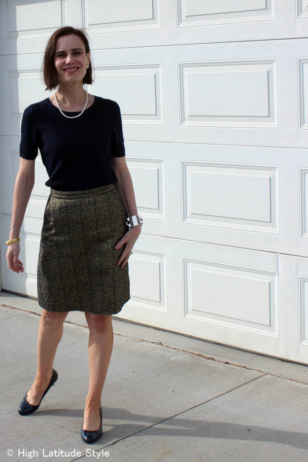 #fashionover50 mature woman in a work outfit that doesn't fit the age rules