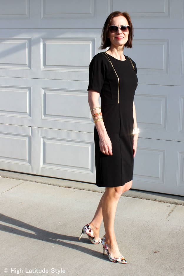 #fashionover40 Nicole of High Latitude Style in a thrifted LBD with floral patent leather pumps and sunnies