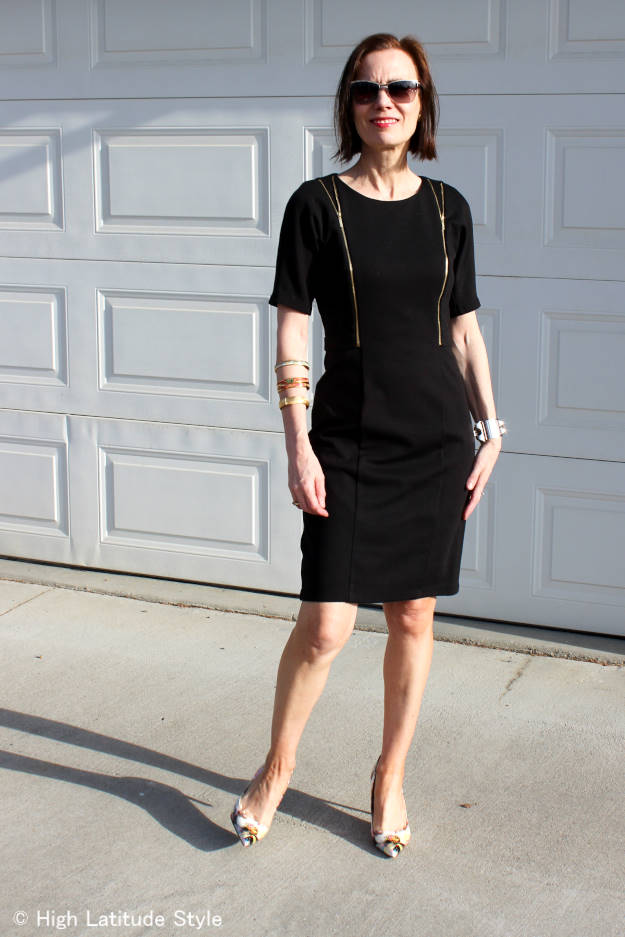 #fashionover50 mature woman in LBD with zipper details | High Latitude Style