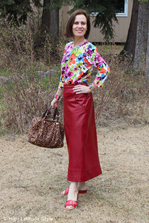 fashion over 40 woman in maxi leather skirt