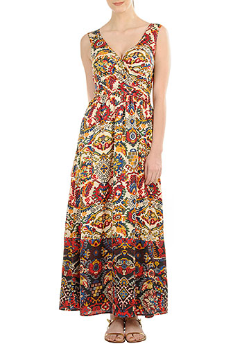 Fashionover40 what to wear to an outdoor concert: example Ethnic floral bird print cotton maxi dress