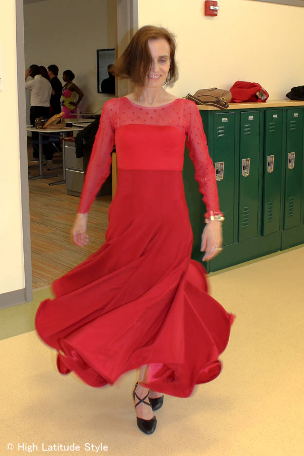 #over40 #over50 ballroom dance dress in motion | High Latitude Style | http://www.highlatitudestyle.com
