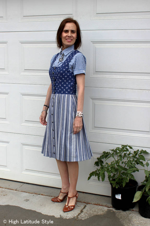 #over40fashion #over50fashion summer dress with shirt | High Latitude Style | http://www.highlatitudestyle.com