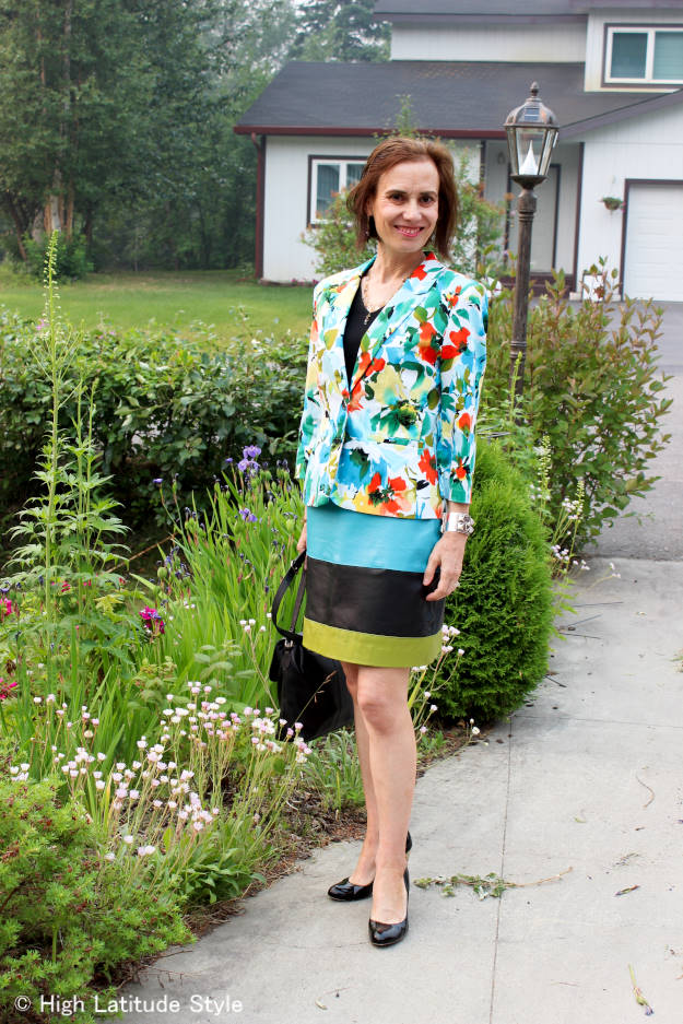 #over40fashion #over50fashion daring outfit with multiple colors and pattern | High Latitude Style | http://www.highlatitudestyle.com