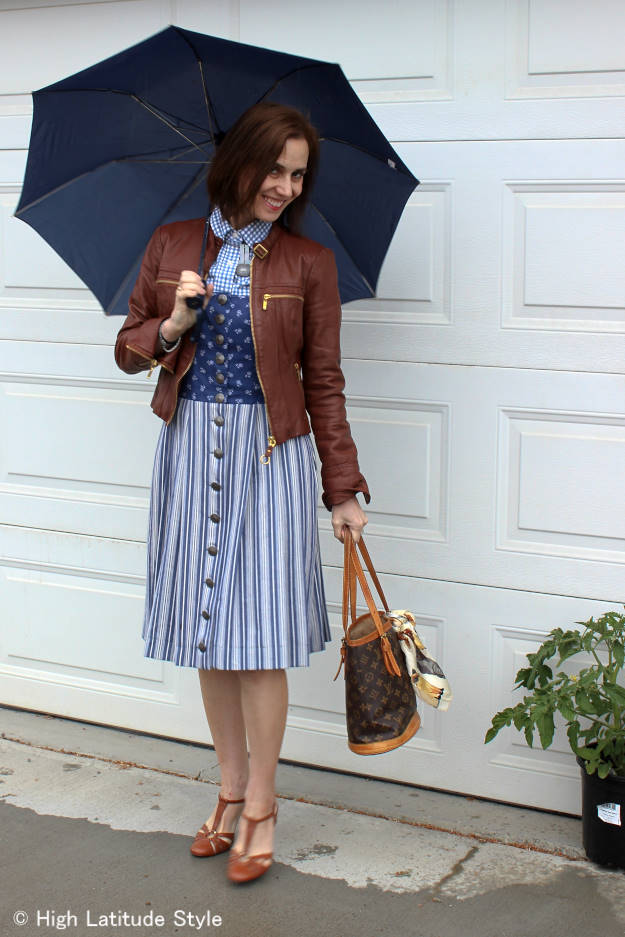 #over50fashion mature woman in an outfit for a rainy summer day