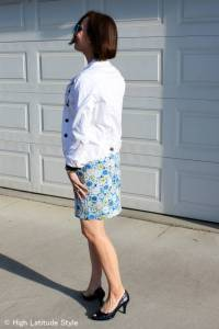 #over40 #over50 white denim jacket with printed skirt | High Latitude Style | http://www.highlatitudestyle.com