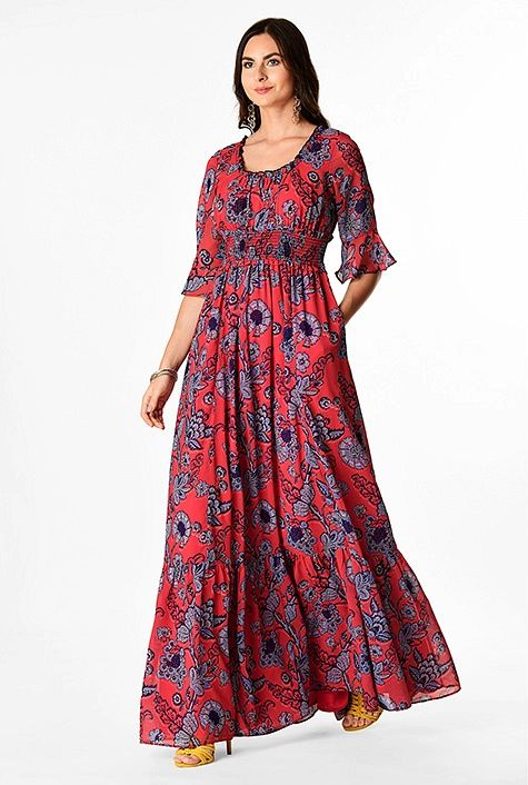 Vintage floral vine print georgette ruched maxi dress