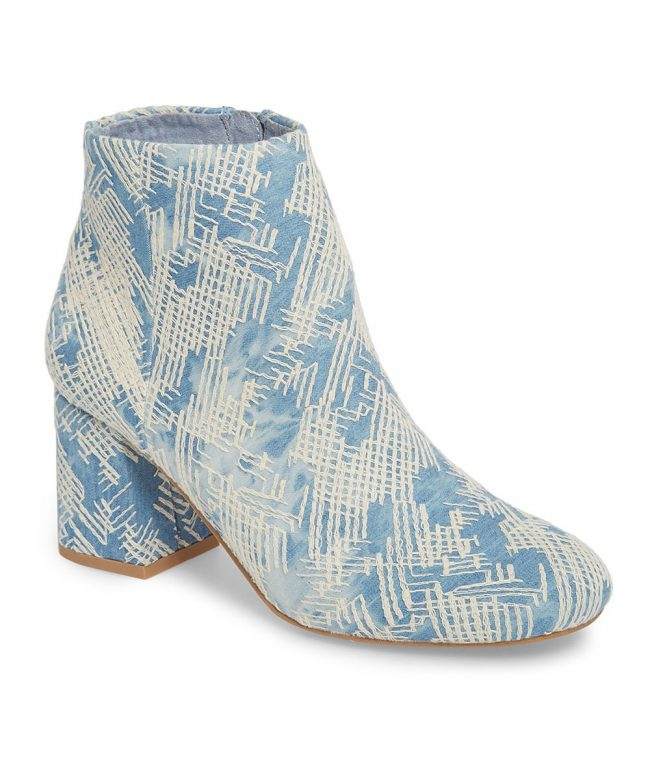 light blue denim booties with embroidery